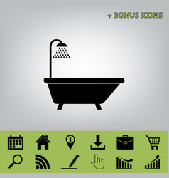Bathtub sign  black icon at gray vector