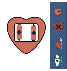 collection of icons and heart diseases vector image