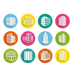 Set of buildings icons on colorful web buttons vector