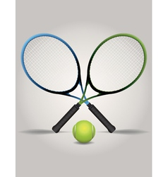 Tennis racquets and ball vector