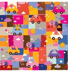 Cute animals driving cars kids collage pattern vector