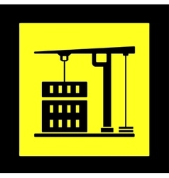 Construction crane yellow icon vector