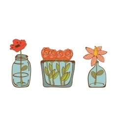 Set of beautiful flowers in glass vases vector