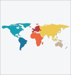 Colorful continents world map vector