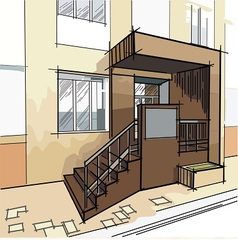Drawing with entrance to the building vector