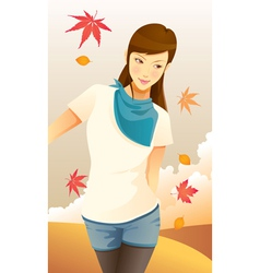 pretty autumn girl vector image