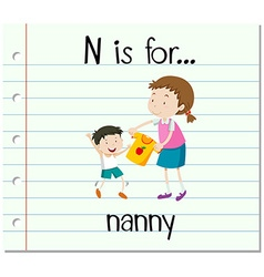Flashcard letter n is for nanny vector
