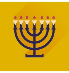 Flat icon with long shadow hanukkah candleholder vector