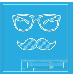 Mustache and glasses sign white section of icon vector