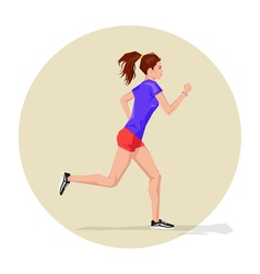 Active sporty young running woman athlete with vector