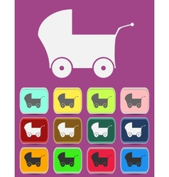 Baby Pram - icon isolated vector image vector image