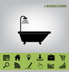 Bathtub sign black icon at gray vector