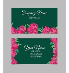 Beautiful floral business cards vector image vector image