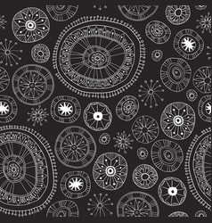 Black lace yoga mandala floral pattern vector