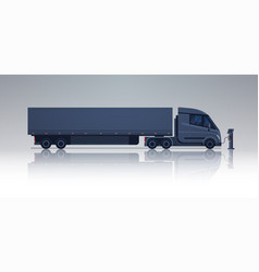 Black semi truck trailer charging at electic vector