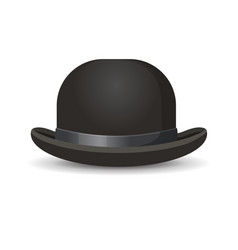 Bowler hat in black color isolated on white vector