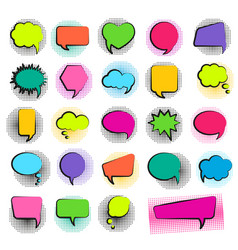 bubble speech set in pop art style and halftone do vector image vector image