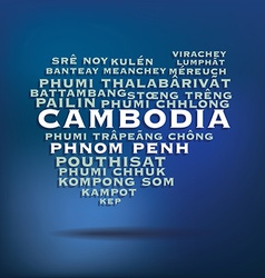 Cambodia map made with name of cities vector image