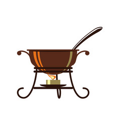 Cauldron for mulled wine isolated icon vector