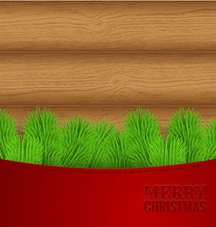 Christmas wood background with fir needles vector