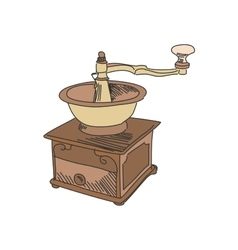 colored doodle coffee mill vector image vector image