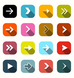 Colorful Flat Design Arrows Set in Rounded Squares vector image