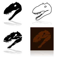 Dinosaur fossil head vector