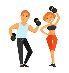 Fitness boy and girl doing exercises with vector