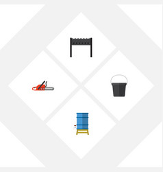 Flat icon garden set of barbecue container pail vector