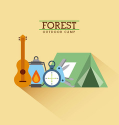 forest outdoor camp tent guitar lantern and vector image