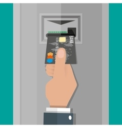 Hand inserts a credit debit card into atm vector
