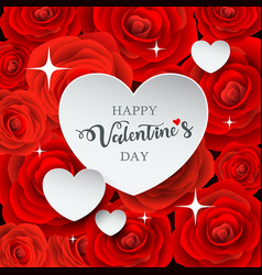 Happy valentines day white heart paper vector