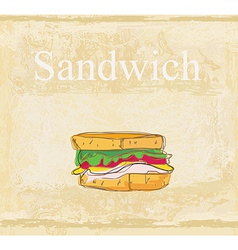 Horizontal grunge background with sandwich vector image