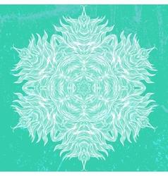 Mandala design in white on aqua green vector