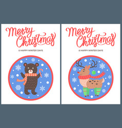 merry christmas and happy winter days bear penguin vector image