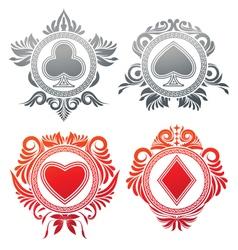 Playing card circle ornament vector