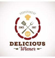 Purveyors of delicious wiener hot dog vintage vector