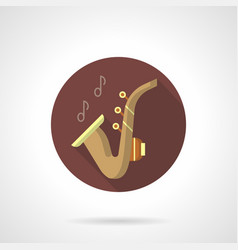 Saxophone music flat brown round icon vector