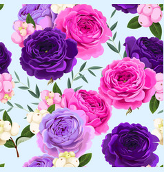 Seamless pattern with roses and berries vector