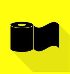 toilet paper sign black icon with flat style vector image vector image