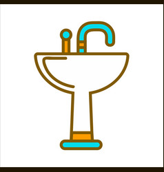 white ceramic sink with blue tap isolated vector image