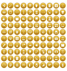 100 medical treatmet icons set gold vector