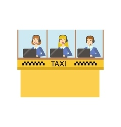 Yellow glass cabin for taxi service call center vector