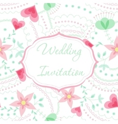 Wedding invitation mint and rose colors vector