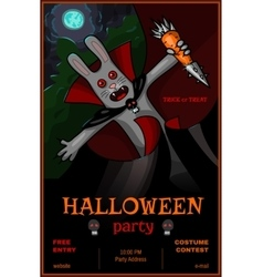 Halloween party banner with vampire rabbit vector