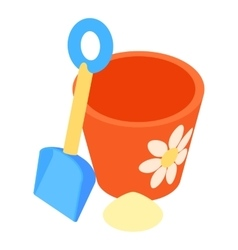 Bucket and pail shovel icon cartoon style vector