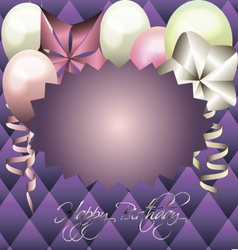 Purple card for invitation birthday card vector