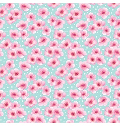 Spring seamless pattern with blossom flowers vector