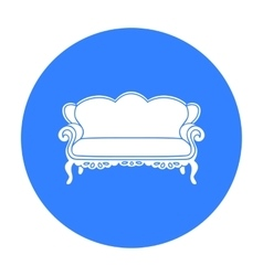 Vintage sofa icon in black style isolated on white vector image