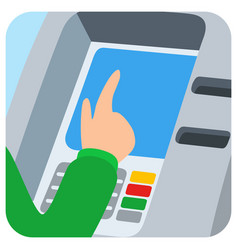 Hand inserting credit card into the atm slot vector